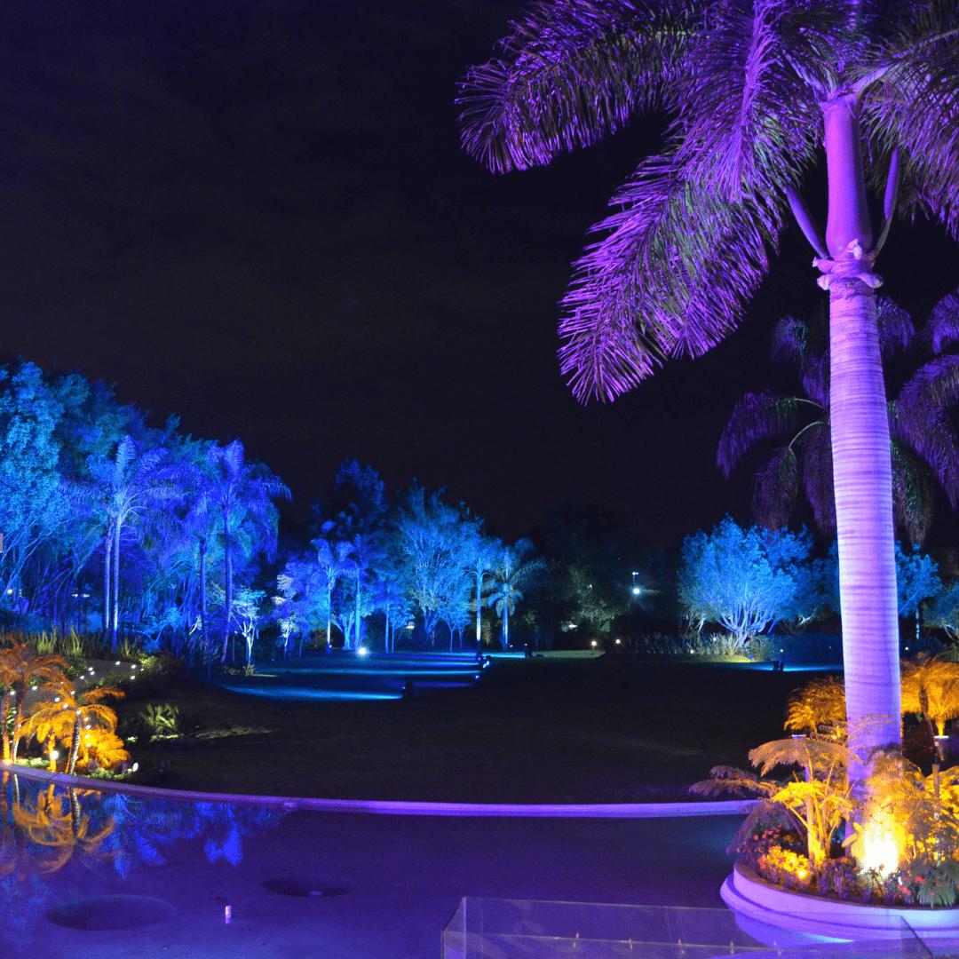 Iluminación decorativa a colores en jardines LarAudio